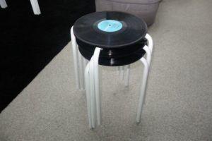 vinyl record inspired stool