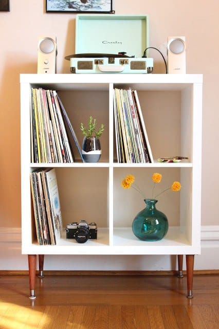 DIY record player stand from IKEA unit